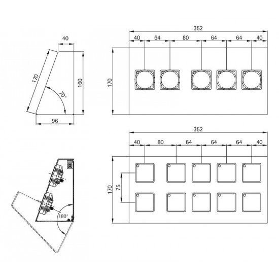 Desk-shaped fixture 352