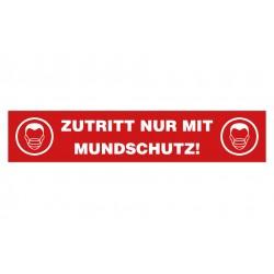 """Aufkleber """"Zutritt nur mit Mundschutz"""" (5er Pack)"""